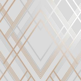 Sublime Ritz Grey & Rose Gold Wallpaper