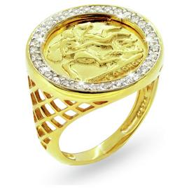 Revere Mens 9ct Gold Plated Sterling Silver Medallion Ring