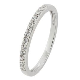 Revere Sterling Silver White Cubic Zirconia Stack Ring - L