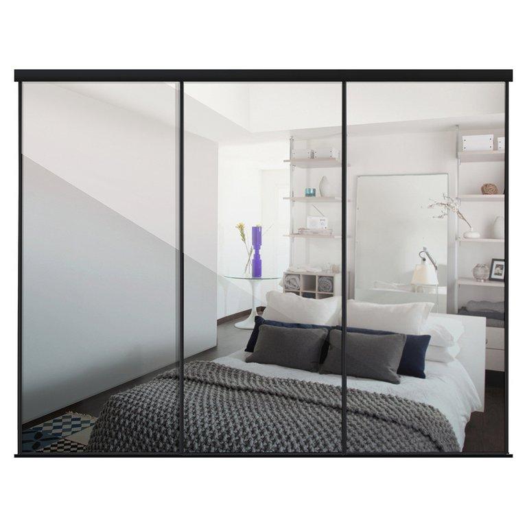 Buy Sliding Wardrobe Door Kit W2692mm Black Frame Mirror ...