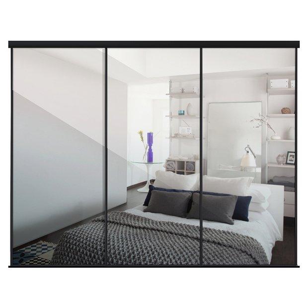 Buy Sliding Wardrobe Door Kit W2692mm Black Frame Mirror