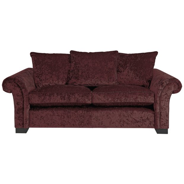 Buy Home Glitz 3 Seater Fabric Sofa Mulberry At