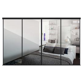 Sliding Doors and track W2978 Black Frame Mirror