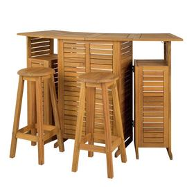 Argos Home Solid Wood Space Saving Bar and Stools