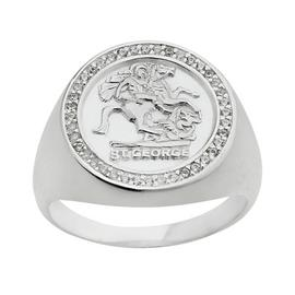 Sterling Silver Mens  St. George Medallion Ring