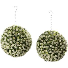 White Rose Garden Topiary Balls x2