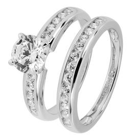 Revere Sterling Silver Cubic Zirconia Bridal Ring Set