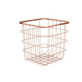 Argos Home Flat Wire Squares Storage Basket - Rose Gold