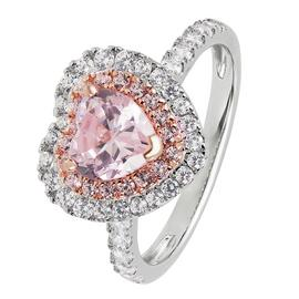 Revere Sterling Silver Cubic Zirconia Heart Halo Ring - L