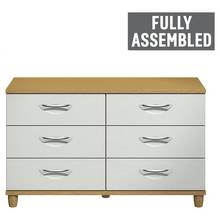 Myra 6 Drawer Chest - Oak Effect and White
