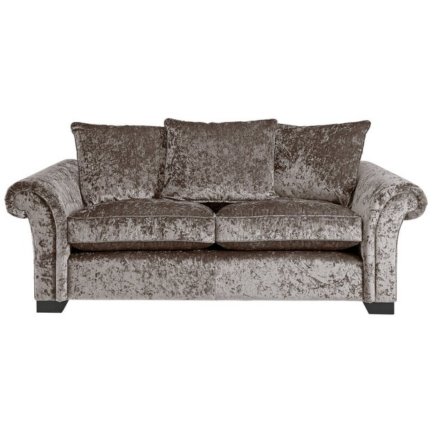 Buy Home Glitz 3 Seater Fabric Sofa Mink At