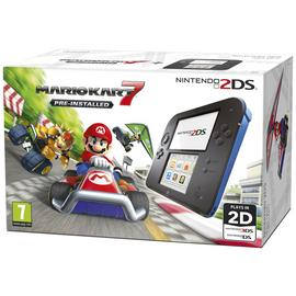 Nintendo 2DS Black & Blue Console with Mario Kart 7 Bundle