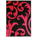 Hand Carved Damask Rug - 120x170cm - Black and Red
