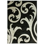 Hand Carved Damask Rug - 120x170cm - Grey and Black