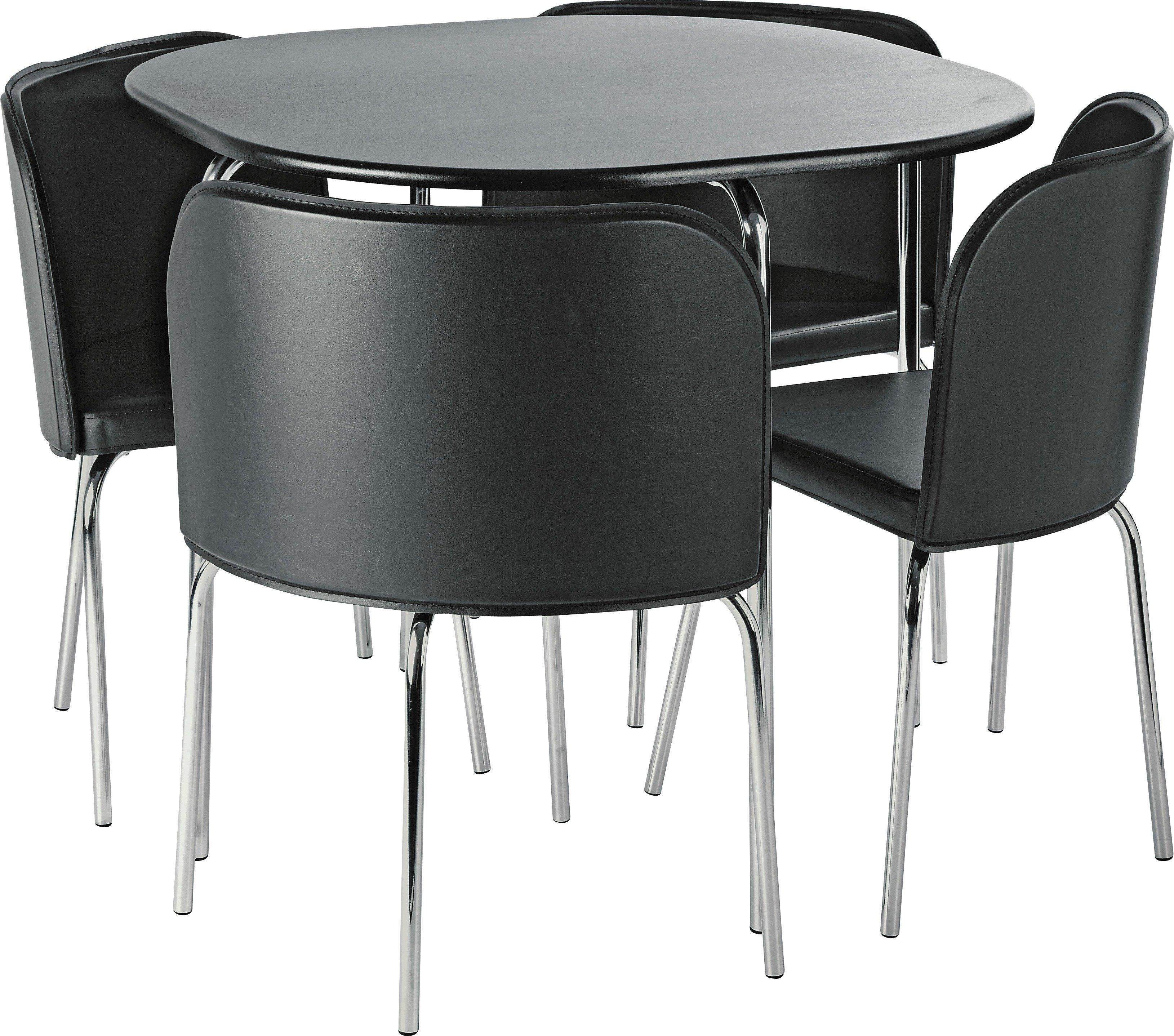 Hygena Amparo Dining Table U0026 4 Chairs   Black