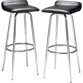 Argos Home Pair of Swivel Head Bar Stools - Black and Chrome