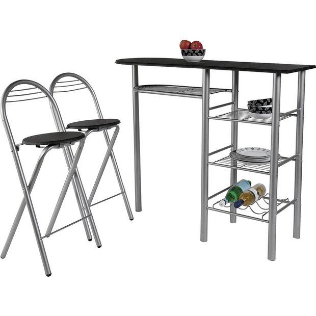 buy home amelia breakfast bar 2 chairs black space. Black Bedroom Furniture Sets. Home Design Ideas