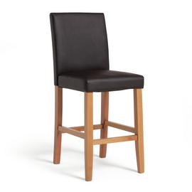 Argos Home Winslow Wood & Leather Effect Bar Stool - Choc