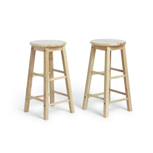 Buy Argos Home Pair of Solid Wood Kitchen Stools | Bar stools | Argos