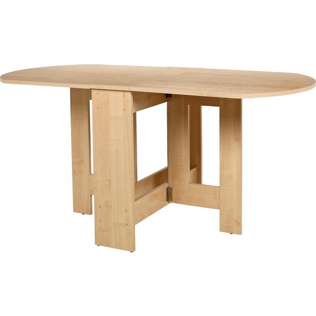 Buy home gateleg light oak effect extendable dining table for Conforama table pliable