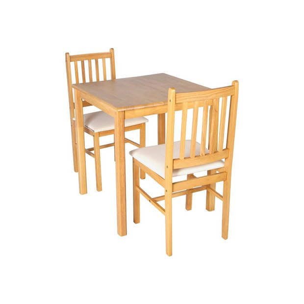 Buy home kendall square solid wood dining table 2 chairs cream at your online Buy home furniture online uk