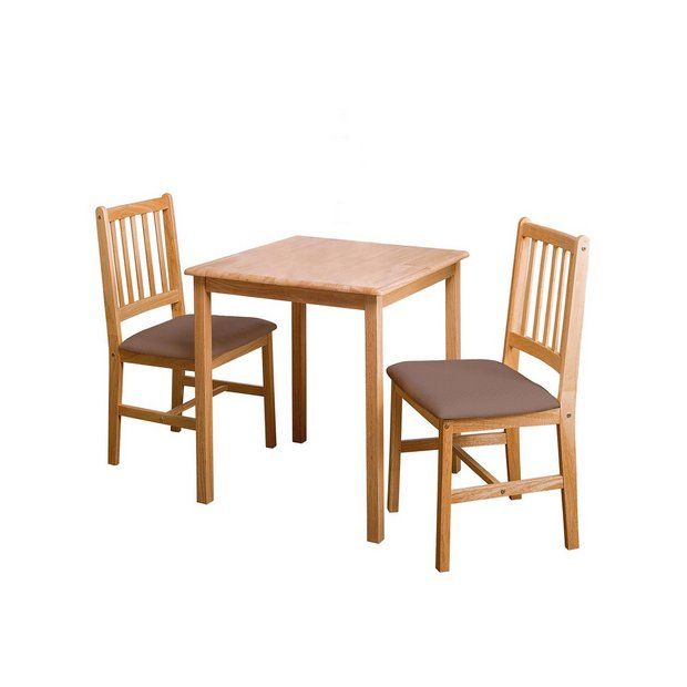 HOME Kendall Square Solid Wood Dining Table 2 Chairs Choc