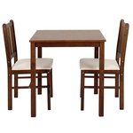 more details on HOME Kendall Solid Walnut Dining Table & 2 Chairs - Cream.