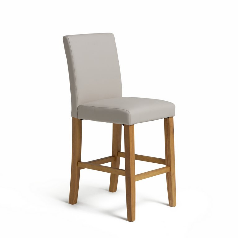 Buy HOME Winslow Cream Oak Stain Leather Effect Bar Stool ...