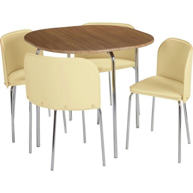 Hygena Amparo Oak Effect Dining Table 4 Chairs