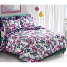Pieridae Purple Tropical Floral Bedding Set - Single