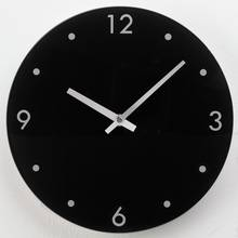 HOME Round Glass Wall Clock - Black