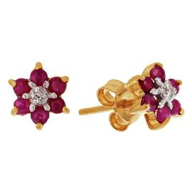 Revere 9ct Yellow Gold Ruby and Diamond Accent Stud Earrings