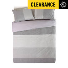 Hygena Grey Mini Stripe Bedding Set - Double
