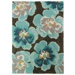 Shady Floral Rug - 120x170cm - Teal and Ochre