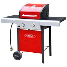 Outback 2 Burner Gas BBQ with Cover - Red