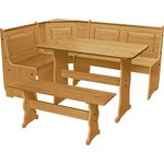 more details on HOME Puerto Rico Nook Table & 3 Corner Pine Bench Set