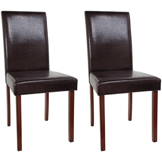 Buy home 2 leather effect mid back chairs walnut stain chocolate at your online Buy home furniture online uk