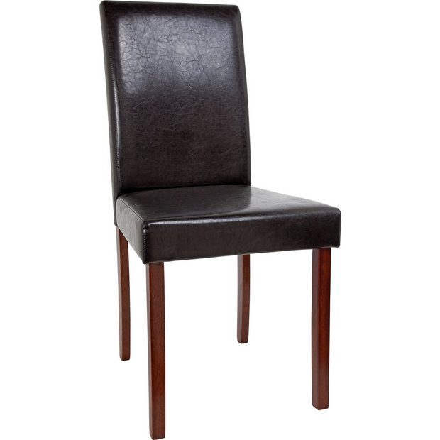 Buy home 2 leather effect mid back chairs walnut stain black at your online shop Walnut effect living room furniture
