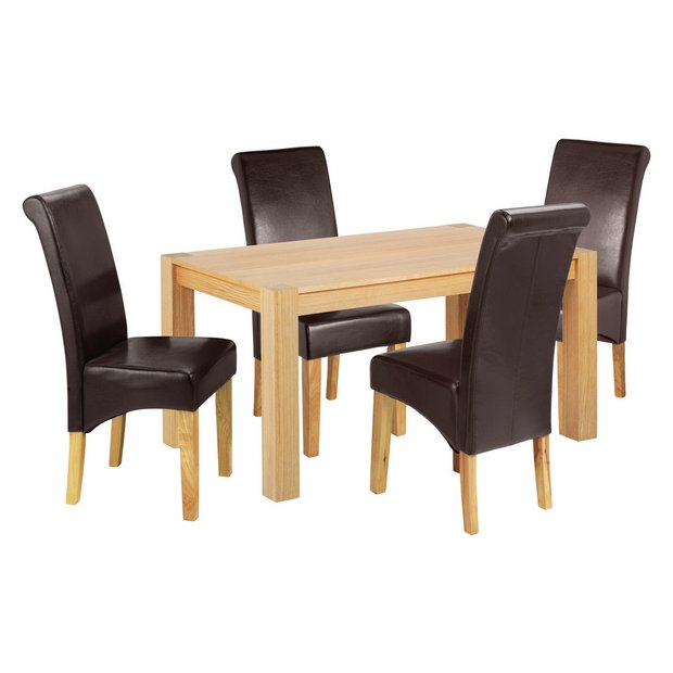 Buy Collection Marston 180cm Oak Table 4 Chairs Chocolate At Your Online Shop