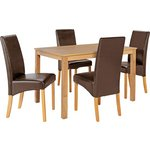 more details on HOME Bromham Dining Table & 4 Skirted Chairs -Oak/Chocolate.