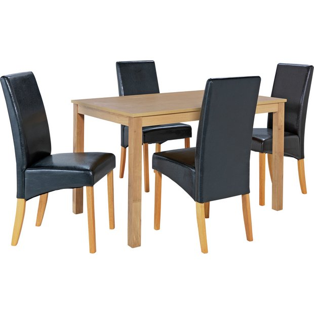 buy home bromham dining table and 4 skirted chairs oak. Black Bedroom Furniture Sets. Home Design Ideas