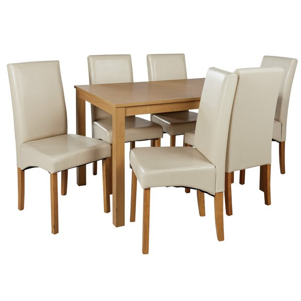Buy Home Bromham Dining Table And 6 Skirted Chairs Oak Cream At Your Online Shop