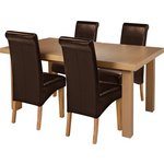 more details on Collection Wickham Oak Veneer Ext Table & 4 Chairs - Choc