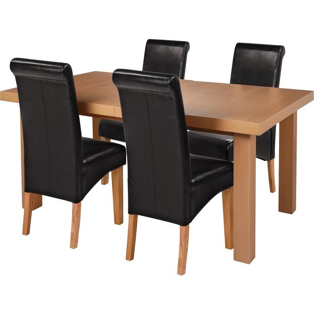 Buy Collection Wickham Dining Table 4 Chairs Oak Veneer