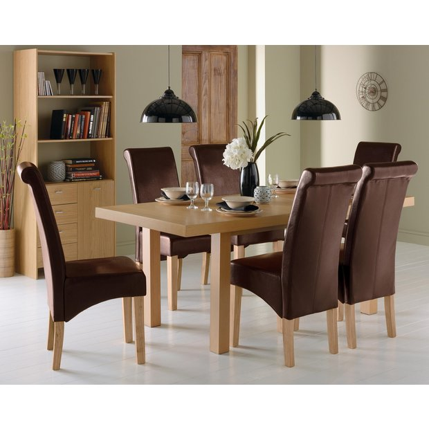Buy Collection Wickham Dining Table 6 Chairs Oak Veneer
