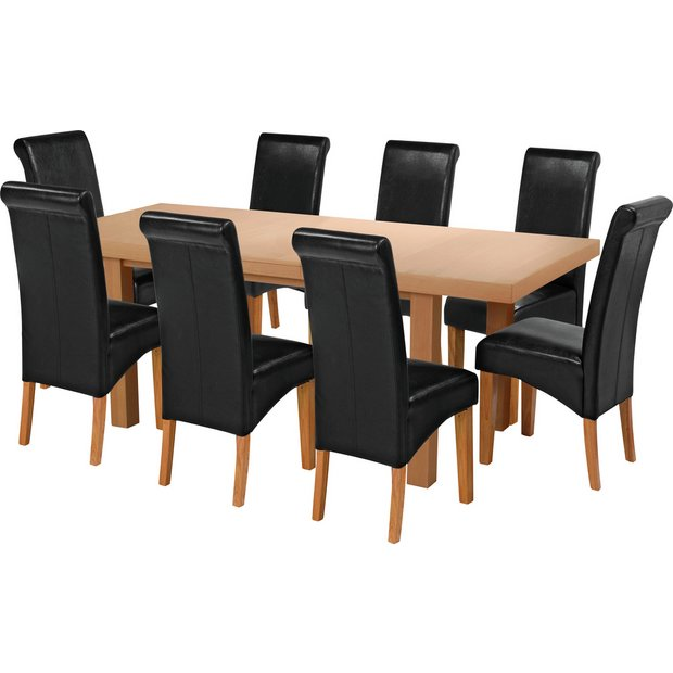 Buy collection wickham ext oak veneer table 8 chairs for Dining room tables homebase