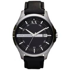 aaca2539f81 Armani Exchange Men s Black Leather Strap Watch