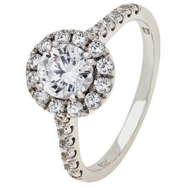 Revere Sterling Silver Round Cubic Zirconia Halo Ring