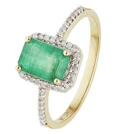 Revere 9ct Yellow Gold Emerald & 0.15ct Diamond Cluster Ring