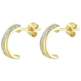 Revere 9ct Gold Plated Sterling Silver Diamond Stud Earrings
